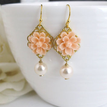 Romantic Peach Flower Earrings. Swarovski Pearl Dangle Drop Ear Accessory. Wedding Jewelry. Bridal, Bridesmaid Gift. Spring Summer Earrings