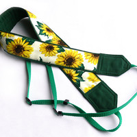 Sunflowers Camera Strap, Yellow Green Camera Strap, Nikon, Canon Camera Strap, Women Accessories