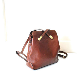 leather backpack / vintage 80s slouchy hexagona caramel avant garde bag