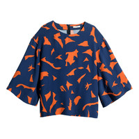 H&M - Blouse with Trumpet Sleeves - Orange - Ladies