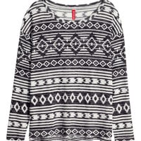 H&M - Patterned Sweater - Natural white/Black - Ladies