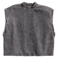 H&M - Short Jersey Top - Dark gray - Ladies