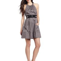 Jessica Simpson Women's Halter Pockets and Belt Dress