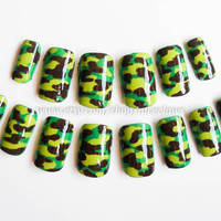 Camo Nails Artificial Nails in Camouflage by niceclaws on Etsy