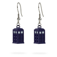 Doctor Who Blue Dangle TARDIS Earrings