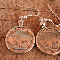 Authentic Buffalo Nickel Coin earrings Mounted in Coin Bezels Stainless French Hooks ..excellent ..