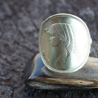"For That Egyptian Queen !!  Authentic Egyptian ""CLEOPATRA"" 50 Piaster coin ring with Sterling band.."