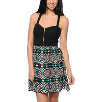 Love, Fire Black & Tribal Print Zipper Dress