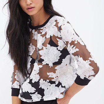 Sheer Floral Boxy Top