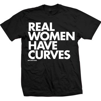 """Real Women Have Curves"" Tee by Dpcted Apparel (Black)"