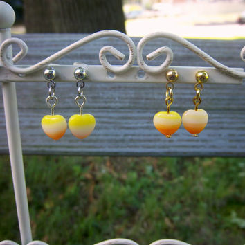 Halloween Candy Corn Heart Lover Stud Earrings Gold or Silver