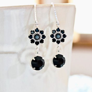 Crystal Earrings  Ebony Black Crystal Rhinestone Earrings Bridemaid Gift Idea Prom Wedding Party Fashion