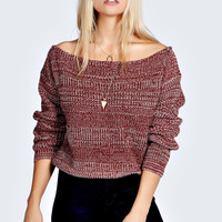 Maria Marl Knit Slash Neck Jumper