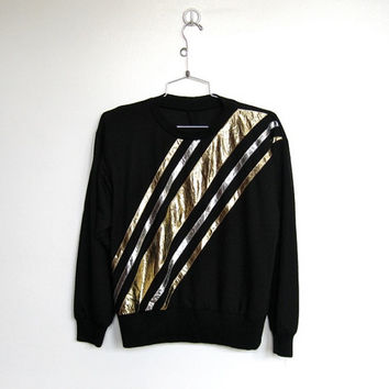 Vintage 1980s New Wave / Rocker Black Pullover Shirt w/ Metallic Stripes