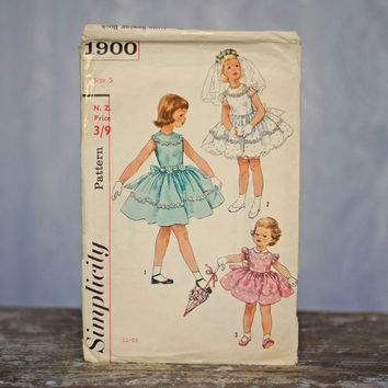 Girl's Sewing Pattern Vintage One-Piece Dress 1950's Simplicity 1900, Size 5 Gathered Flower Girl Party Dress Wedding Dress Ribbon Sash Trim
