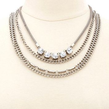 Layered Rhinestone Chain Collar Necklace by Charlotte Russe - Silver