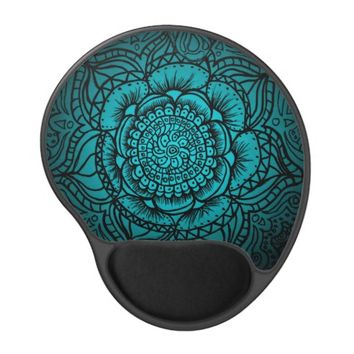 Teal Mandala Gel Mousepad