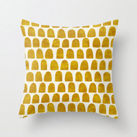 Gold mustard dots pillow, home decor, warm yellow home accents, from hand painted pattern, minimalist throw pillow cover, modern home decor