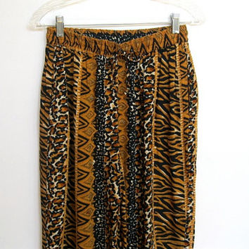 Vintage 1990s Revue / Leopard and Zebra Animal Print / High Waisted Harem Pants