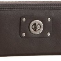 Marc Jacobs Turnlock Slim Zip Wallet Faded Aluminum
