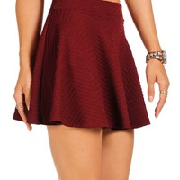 Pre-Order: Burgundy Textured Skater Skirt
