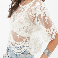 FOREVER 21 Embroidered Sheer Top Cream