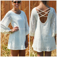 Bethel Falls Ivory Crochet Lace Bell Sleeve Dress