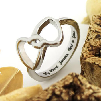 """Couples Ring Double Hearts Lovers Promise Ring Wedding Ring """"My Heart Forever Next To Yours"""""""