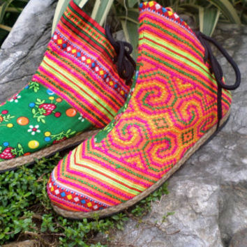 Funky Womens Ankle Boots In Hmong Ethnic Embroidery