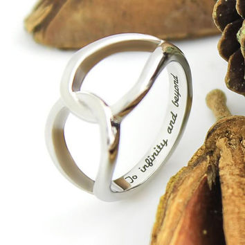 """Infinity Ring Couples Ring Promise Ring Infinity Symbol Ring""""To Infinity and Beyond"""" Engraved"""