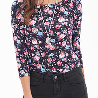 Rose Print Knit Top
