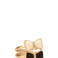 Rhinestoned Bow Ring Set