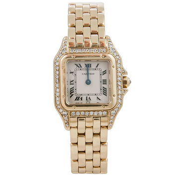 Cartier Lady's Yellow Gold and Diamond Panther Wristwatch circa 1990s