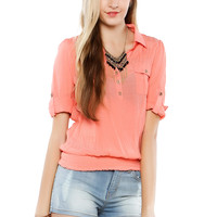 Papaya Clothing Online :: BANDED BACK-LACY WAIST BLOUSE