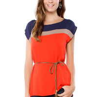 Papaya Clothing Online :: THREE COLOR BLOCK DRESSY TOP