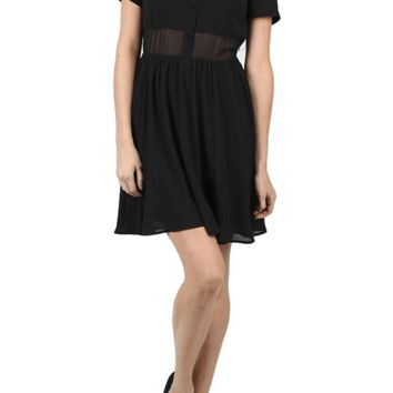 Featuring lightweight and flow-away chiffon fabrication, button up front with shirt neckline, semi-sheer paneling at front & back neckline and waistline, short sleeves, cinch detail at waist, hidden zip closure at side, skater flare skirt bottom, and finis