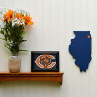 "Chicago Bears ""State Heart"" wall art, handcrafted wood with official team colors"