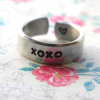 Kisses and hugs XOXO cuff ring heart inside