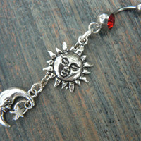 The sun and moon belly ring red stones stars sun moon goddess celestial  boho belly dancer pagen gypsy tribal fusion and hipster style