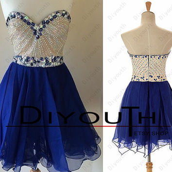 Short prom dress,blue prom dress,cheap prom dress,homecoming dress,short homecoming dress,blue homecoming dress,plus size homecoming dress