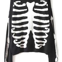 Edgy Skeleton Print Sweater - OASAP.com