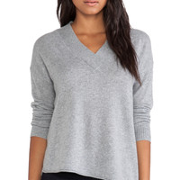 Wide Trim V Neck Sweater in Nickel Heather