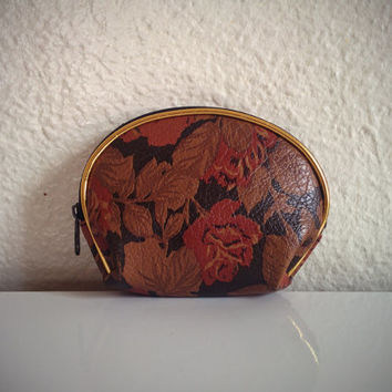 Vintage 80's Coin Purse Faux Leather Red/Tan Floral Print with Gold Trim Wallet