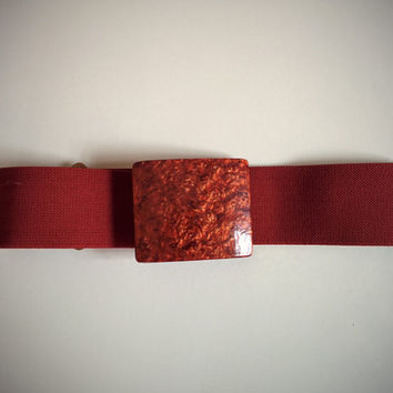 Vintage 80's Stretch Belt Burgundy with Marbleized Buckle