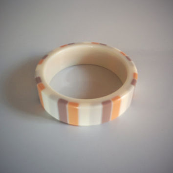 Vintage 80's Bracelet Tan, Grey, Peach, Ivory Stripes Wide Bangle