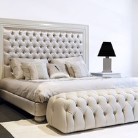 Leather double bed with tufted headboard ZAHRA DecòGlam - Casa Gioiello Collection by Mantellassi 1926