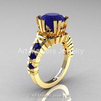 Modern 18K Yellow Gold 3.0 Ct Blue Sapphire Solitaire Wedding Anniversary Ring R325-18KYGBS