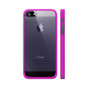 OEM Luardi Apple iPhone 5 Hard Back Case w/ Crystal Silicone Border & Screen Protector - Hot Pink