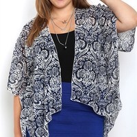 Short sleeve blue/black/ ivory wallpaper print chiffon kimono