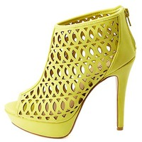Anne Michelle Cut-Out Peep Toe Platform Heels